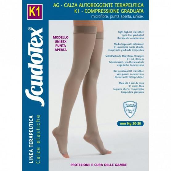 441 Компрессионные чулки Скудотекс К1 (20-30 mmHg) с микрофиброй, открытый носок (мысок)