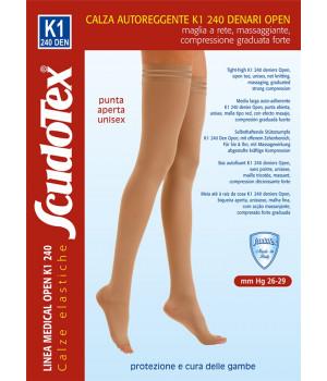 833 Чулки компрессионные 2 класс компрессии Скудотекс  (26-29 mmHg) 240 den открытый носок (мысок), женские или мужские, (унисекс для мужчин)